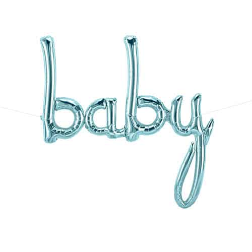 Baby Script Pastel Blue Air Fill Foil Balloon 77cm / 31Inch Product Gallery Image