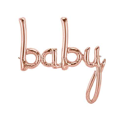 Baby Script Rose Gold Air Fill Foil Balloon 77cm / 31Inch Product Gallery Image