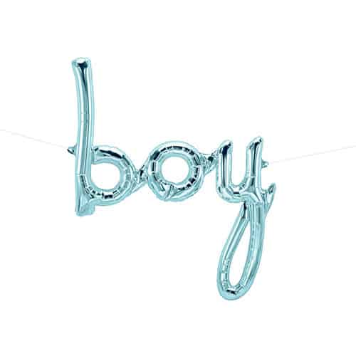 Boy Script Pastel Blue Air Fill Foil Balloon 56cm / 22Inch Product Gallery Image
