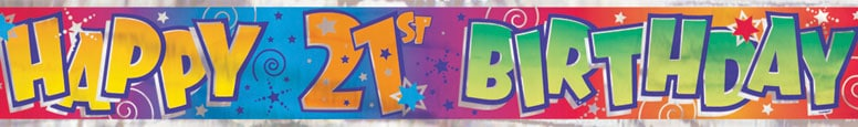 Happy 21st Birthday Stars Foil Banner 365cm Product Image