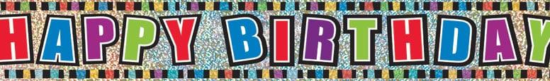 Happy Birthday Colours Prismatic Foil Banner 365cm