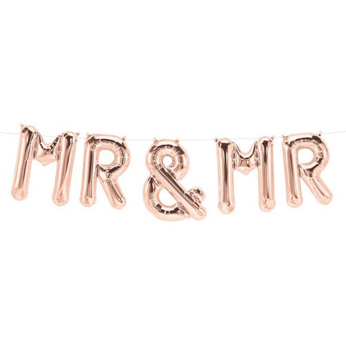 Mr And Mr Rose Gold Air Fill Foil Balloon Kit 140cm / 55Inch Product Gallery Image