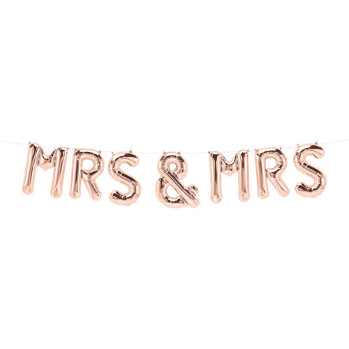 Mrs And Mrs Rose Gold Air Fill Foil Balloon Kit 140cm / 55Inch Product Gallery Image