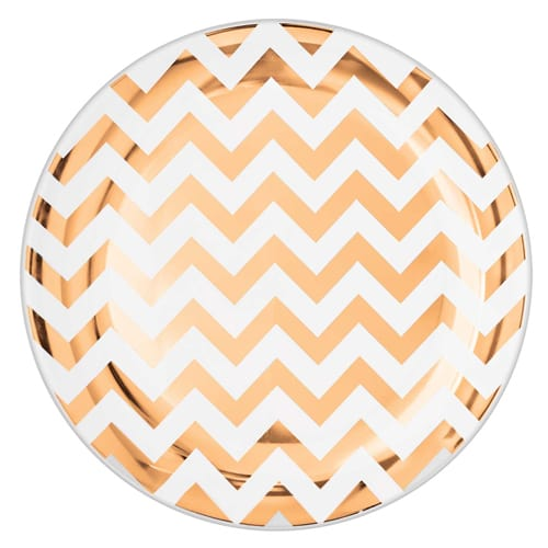 rose-gold-chevron-plastic-plate-26cm-product-image