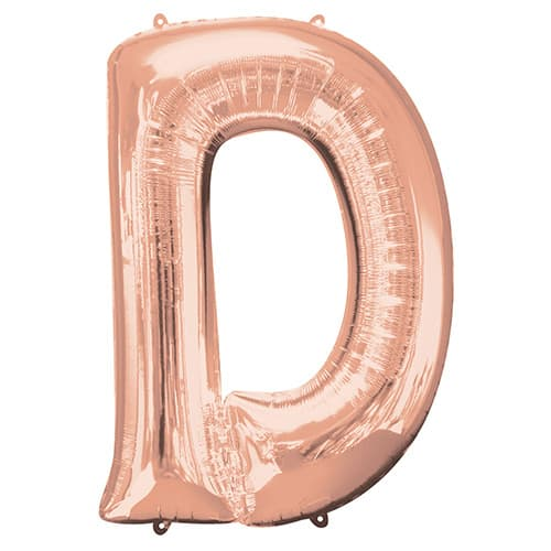 rose gold letter d supershape foil helium balloon 83cm 33inch partyrama. Black Bedroom Furniture Sets. Home Design Ideas