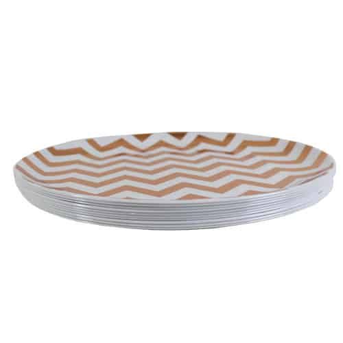 Rose Gold Metallic Chevron Premium Quality Plastic Plate 26cm - Pack of 10 Product Gallery Image