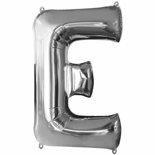 Silver Letter E Air Fill Foil Balloon 40cm / 16Inch Bundle Product Image