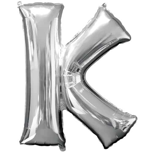 Silver Letter K Air Fill Foil Balloon 40cm / 16Inch Bundle Product Image