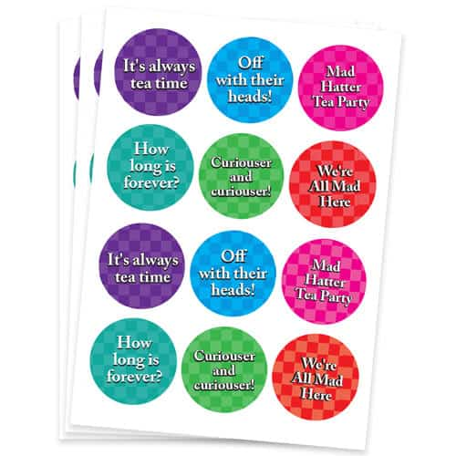 Alice In Wonderland 60mm Round Sticker Sheet of 12 Product Gallery Image