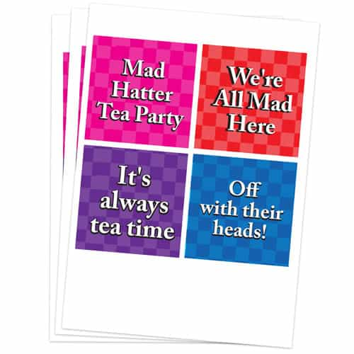 Alice In Wonderland 95mm Square Sticker Sheet of 4 Product Gallery Image