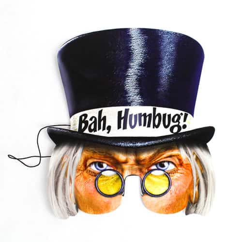 Bah Humbug Christmas Cardboard Face Mask