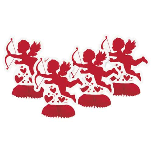 Valentines Cupid Mini Honeycomb Table Centrepiece Decoration 15cm - Pack of 4
