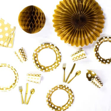 Gold Decorative Dots Party Supplies