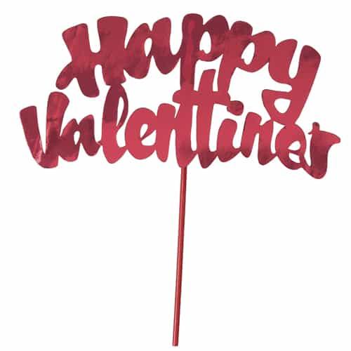 Happy Valentines Red Foil Cake Topper Pick 15cm