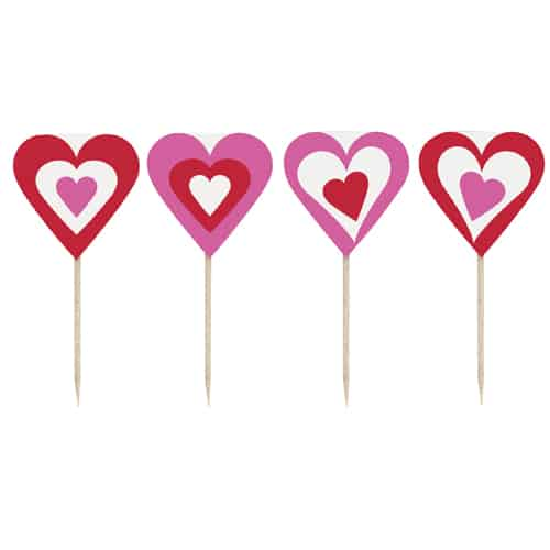 Valentines Hearts Picks - Pack of 8