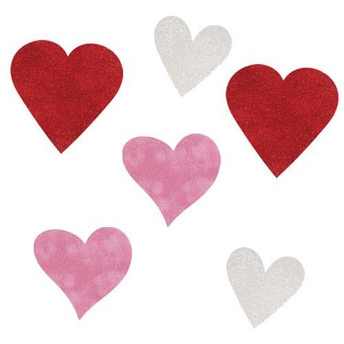 Valentines Assorted Hearts Mini Glitter Cutouts - Pack of 6