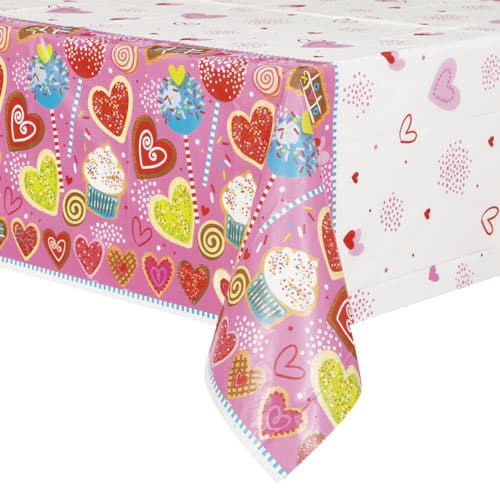 Sweet Valentine Plastic Tablecover 213cm x 137cm