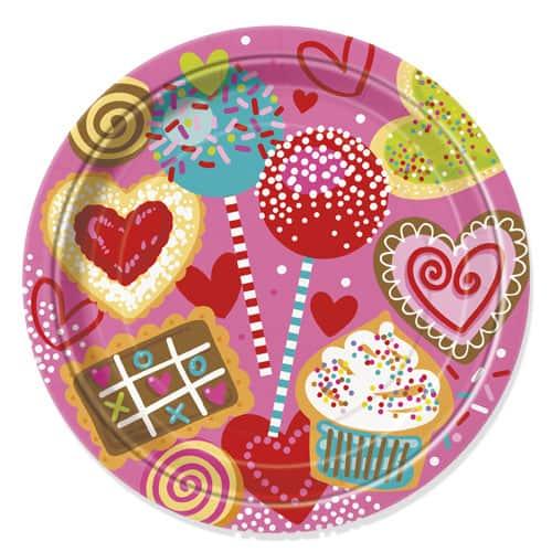 Sweet Valentine Round Paper Plate 22cm