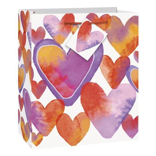 Watercolour Valentine Hearts Medium Glossy Gift Bag 23cm