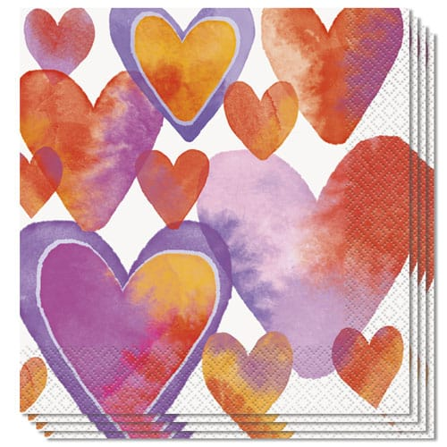 Watercolour Valentine Hearts Luncheon Napkins 33cm 2ply - Pack of 16