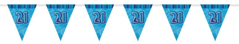 Blue Glitz 21st Birthday Bunting 274cm