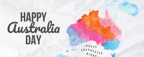 Happy Australia Day Pastel Map Design Small Personalised Banner - 4ft x 2ft