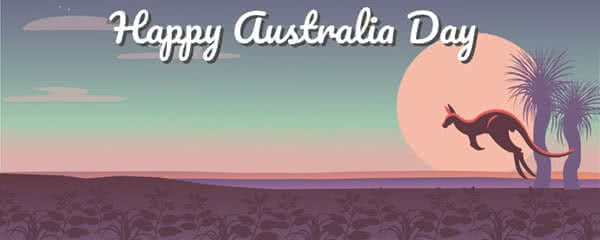 Happy Australia Day Sunset Design Medium Personalised Banner - 6ft x 2.25ft