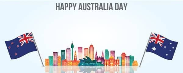 Happy Australia Day Sydney Skyline Design Medium Personalised Banner - 6ft x 2.25ft