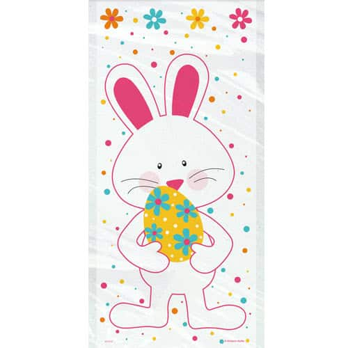 Happy Easter Bunny Cello Gift Bags with Twist Ties - Pack of 20