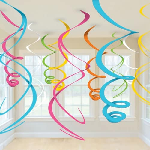 Multi-Colour Hanging Swirl Decorations - Pack of 12