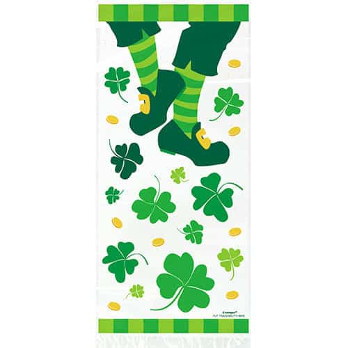 St Patricks Day Cello Gift Bags with Twist Ties - Pack of 20