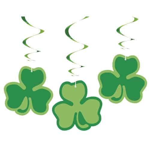 St Patricks Day Clover Hanging Swirl Decorations - Pack of 3