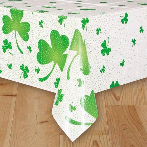 St Patricks Day Lucky Shamrock Plastic Tablecover 213cm x 137cm