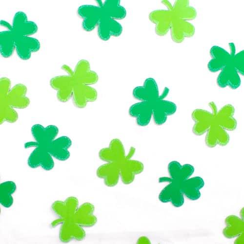 St Patricks Day Shamrock Glitter Confetti Cutouts - Pack of 25