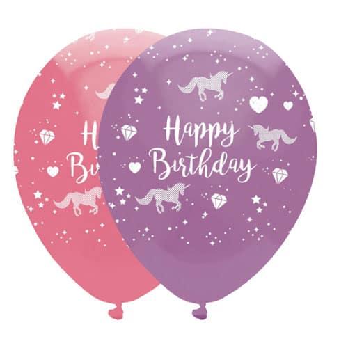Unicorn Happy Birthday Latex Balloons 30cm / 12Inch - Pack of 6