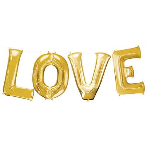 Valentines Gold LOVE Large Foil Helium Balloon Kit