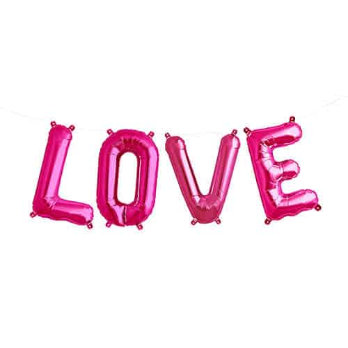 Valentines Magenta LOVE Small Air Fill Foil Balloon Kit