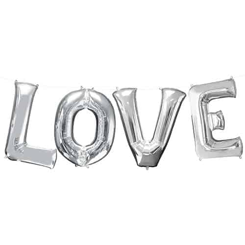 Valentines Silver LOVE Large Foil Helium Balloon Kit