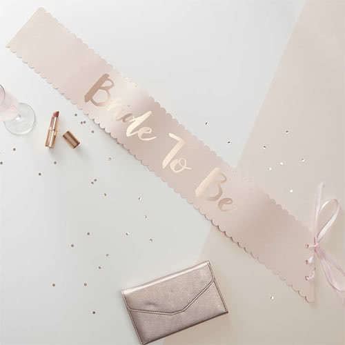 Hen Party Bride To Be Rose Gold Foiled Paper Sash Product Gallery Image