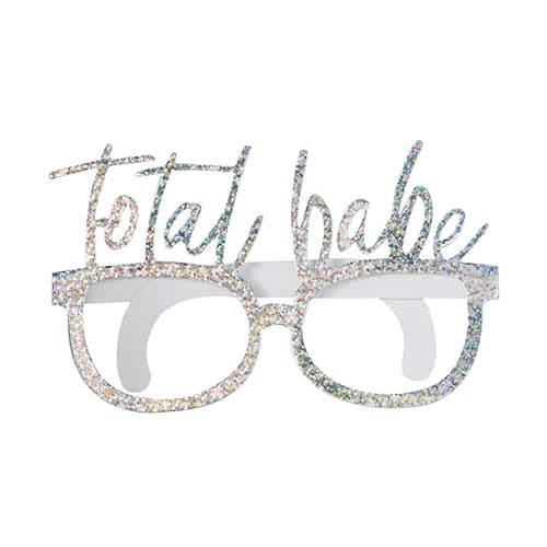 Good Vibes Holographic 'Total Babe' Cardboard Party Glasses - Pack of 8 Product Gallery Image