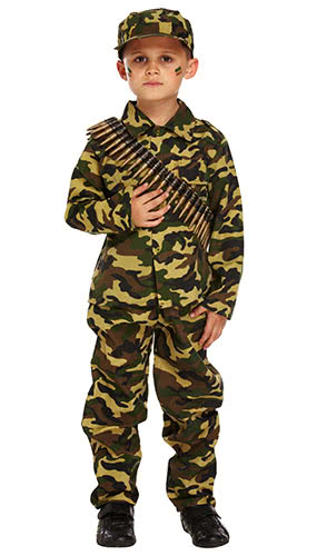 Army Boy Children Fancy Dress Costume 4-6 Years - Small