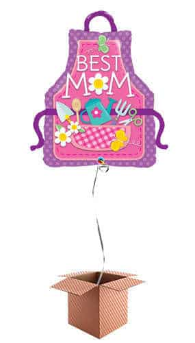 Best Mom Apron Helium Foil Giant Qualatex Balloon - Inflated Balloon in a Box