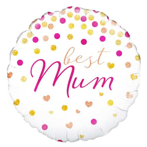 Best Mum Holographic Round Helium Foil Balloon 46cm / 18Inch