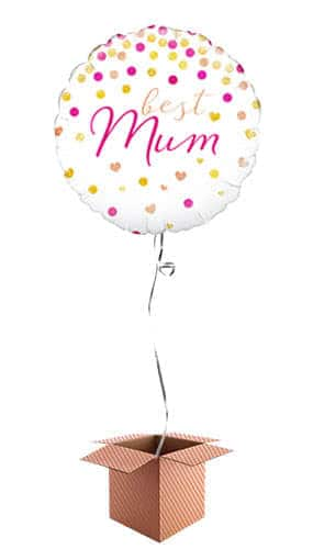 Best Mum Holographic Round Helium Foil Balloon - Inflated Balloon in a Box