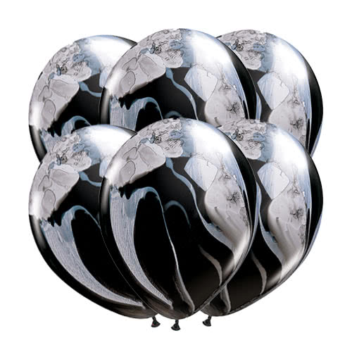 Black And White SuperAgate Latex Helium Qualatex Balloons 28cm / 11Inch - Pack of 10 Product Gallery Image