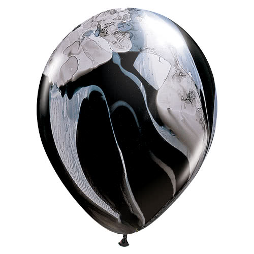 Black And White SuperAgate Latex Helium Qualatex Balloons 28cm / 11Inch - Pack of 25 Product Gallery Image