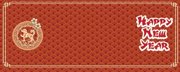 chinese new year semi circle pattern design small personalised banner 4ft x 2ft