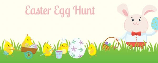 Easter Egg Hunt Chicks And Bunny Design Small Personalised Banner - 4ft x 2ft