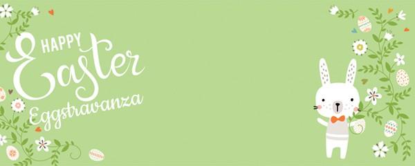 Easter Eggstravaganza Floral Bunny Design Medium Personalised Banner - 6ft x 2.25ft