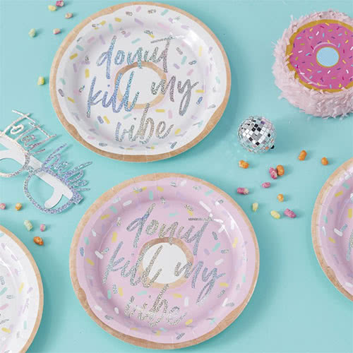 Good Vibes 'Donut Kill My Vibe' Iridescent Foiled Paper Plates - Pack of 8